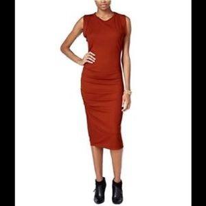 Bar III midi dress in rust reddish brown sz L